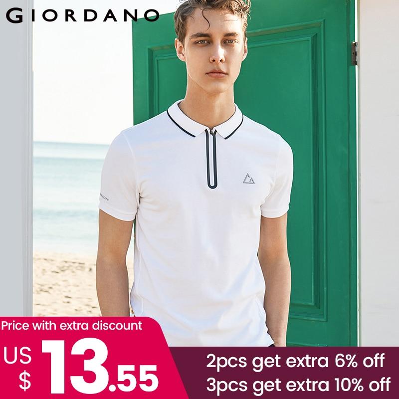 Giordano Men Fast Dry   Polo   Pique Men   Polo   Shirt Zip Placket Tops For Men Summer Short Sleeve Camisa   Polo   Masculina
