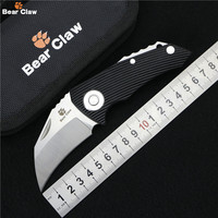 Bear Claw Parrot Ball Bearing Folding Knife D2 Blade G10 Steel Handle Hunting Outdoor Camping Survive