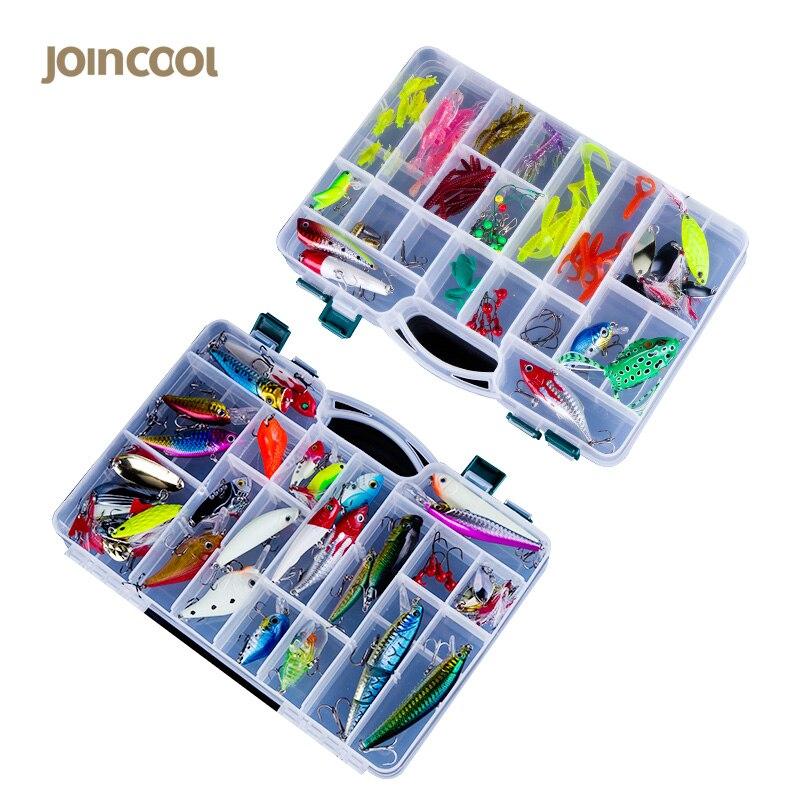 ФОТО  Joincool LYH20 fishing Lures Mixed Hard with Soft Baits Popper Crankbait VIB Floating Fishing Lures Hooks Kit Set