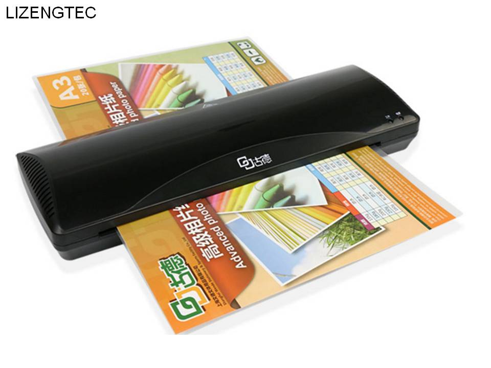 Free Shipping LIZENGTEC New Design Professional Office Hot and Cold Roll Laminator Machine for A3 /A4 Paper Document Photo-in Laminator from Computer & Office    1