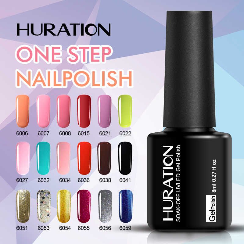 Huraiton 3 In 1 Satu Langkah Gel Cat Kuku Seni Desain Manikur Gel Varnish LED Rendam Off Tidak Base Top coat Bahasa Polandia Enamel Gel Lacquer