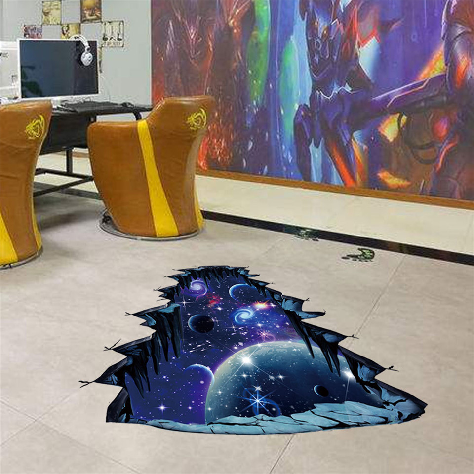 3D Outer Space Planets Wall Stickers Cosmic Galaxy Breaking Wall Decals For Kids Child Room Toy
