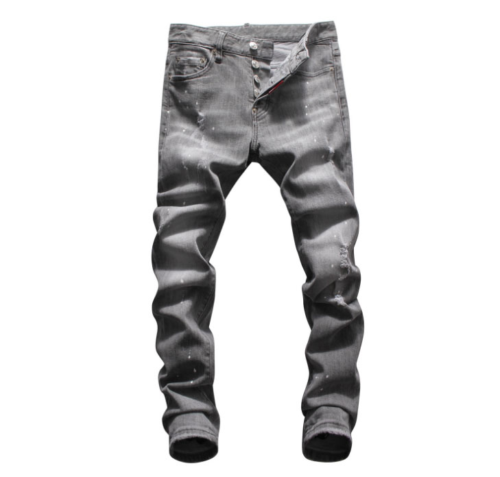 European American Style Fashion men hole   jeans   famous brand straight grey hole zipper slim brand   jeans   Pencil Pants for men