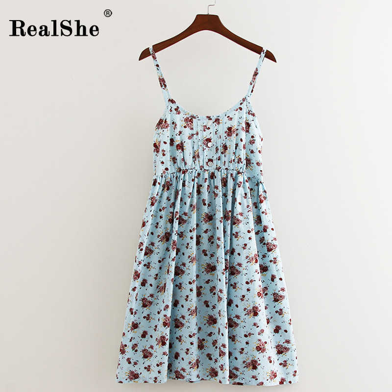 69de8a57e7b4 RealShe New Women Summer Dress O Neck Cotton Bohemian Dress Sleeveless Mini  Vestidos Mori Girl Party