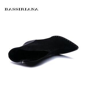 Image 3 - BASSIRIANA 2019 nuove Donne Sexy di Modo Stivali Zip Stivali Alti talloni Della Signora punta a punta Stivali di Colore Nero Taglia 35  40