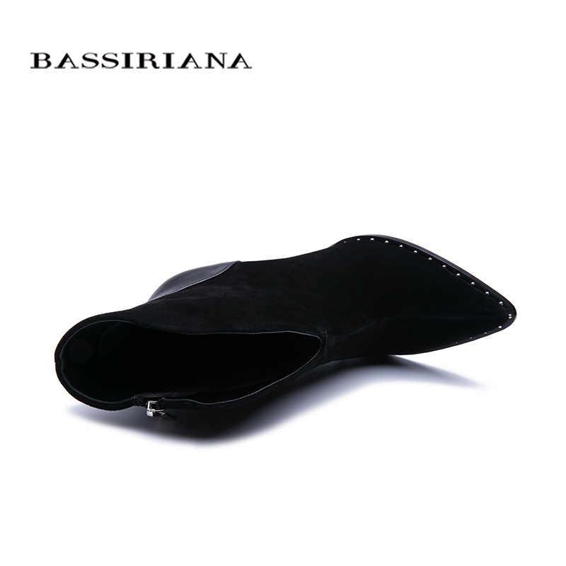 BASSIRIANA 2019 yeni Seksi Moda Kadın Çizmeler Zip Yüksek topuklu Çizmeler Bayan Sivri Burun Çizmeler Renk Siyah Boyutu 35- 40