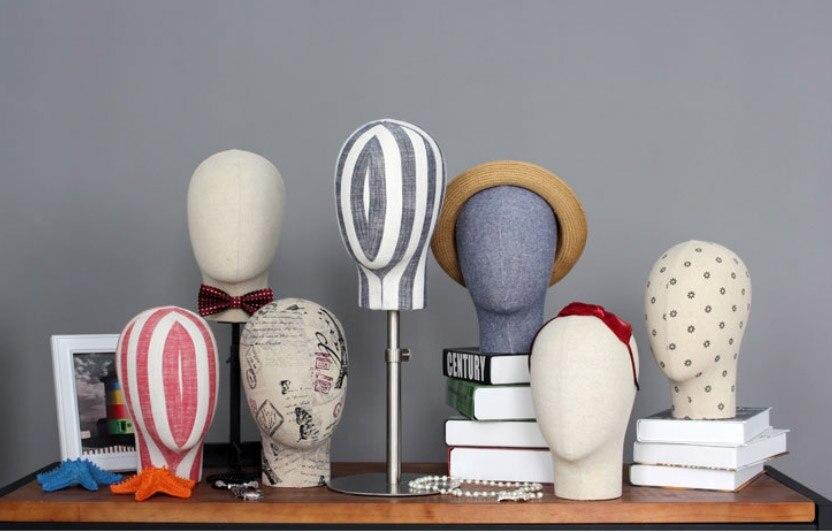 Top qualité Hommes et Femmes de Tête En Tissu Modèle Tissu Tête Mannequin Pour L'affichage
