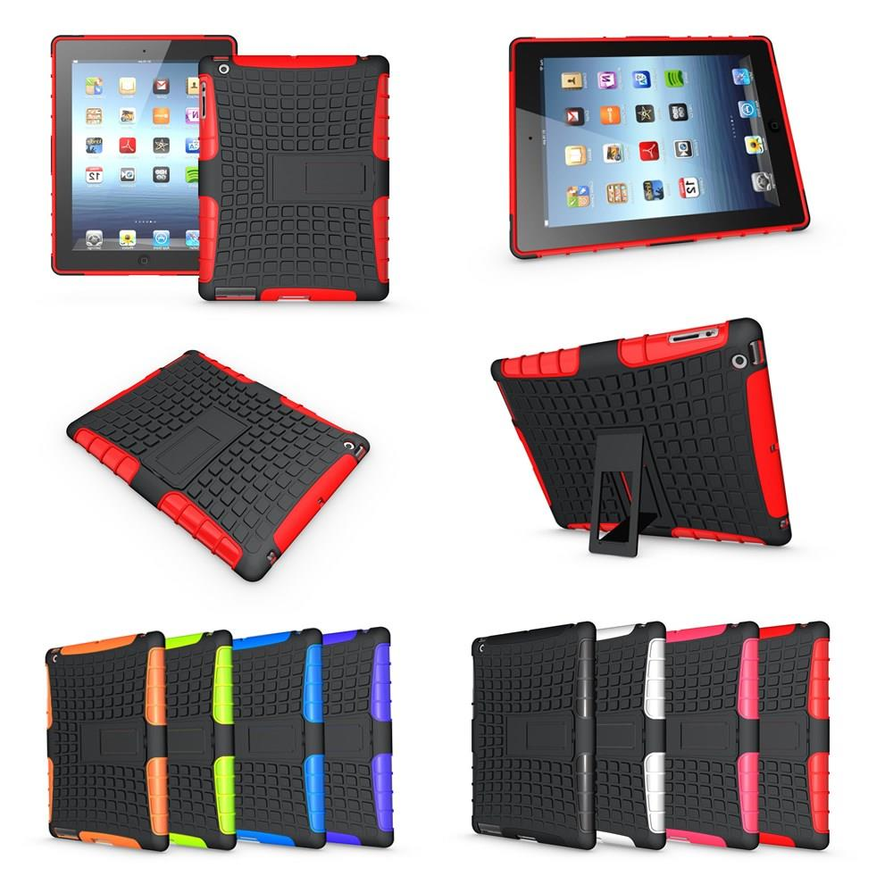 For ipad 2 3 4  Heavy Duty Hybrid TPU+PC Armor stand Case Back Cover Shockproof Tablet Case For Apple Ipad2 ipad3 ipad4 #D mini 4 heavy duty shockproof case hybrid silicone plastic back cover for ipad mini 4 tablet stand cover 7 9 for ipad mini 4