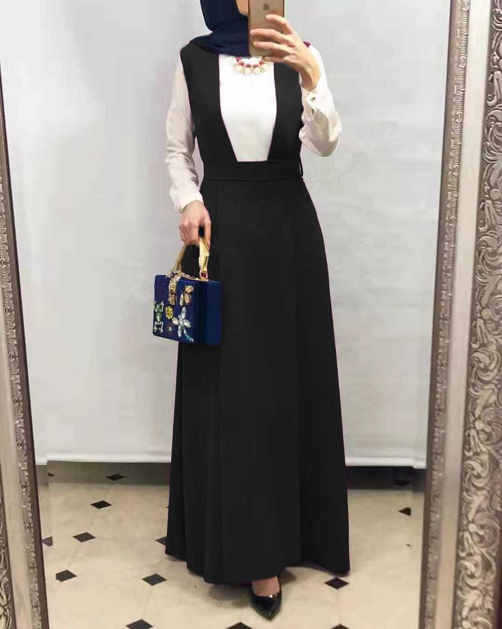 Dubai Frauen Muslimischen Maxi Langen Rock Phantasie Overall Mit Zurück Gürtel Plain Rosa Rose Schwarz Abaya Große Größe Robe Fimtairah