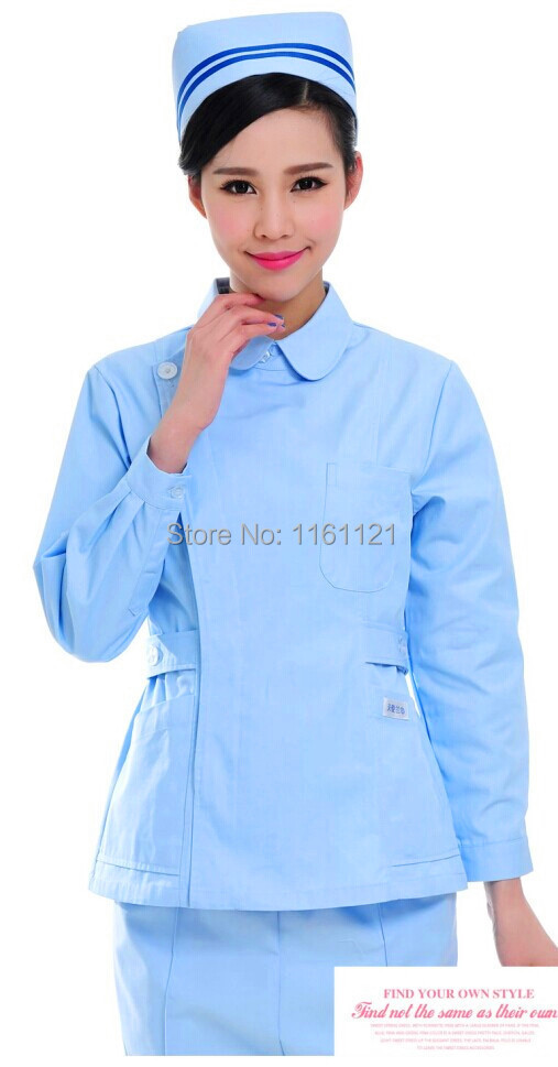2015 Lab Coat Womens New Anti-wrinkle Color Long Sleeve Nurse Uniform Two Pieces Set Clothes for Medical Clinic And Hospital