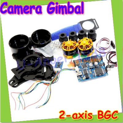 HK Free shipping + New 2-axis BGC Brushless Camera Gimbal GoPro3 Controller PTZ aluminum Full set of parts 2015 hot sale quadcopter 3 axis gimbal brushless ptz dys w 4108 motor evvgc controller for nex ildc camera