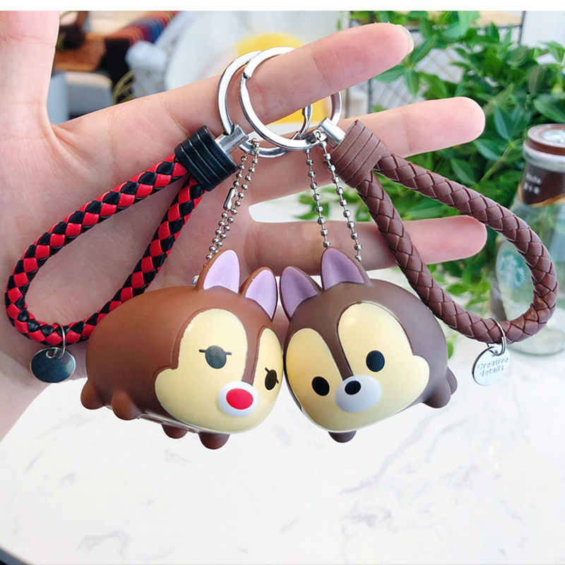 Cute didi music doll keychain cartoon Chicken Duck Dog Keyring couple bag woven key chain car accessories pendant in Key Chains from Jewelry Accessories