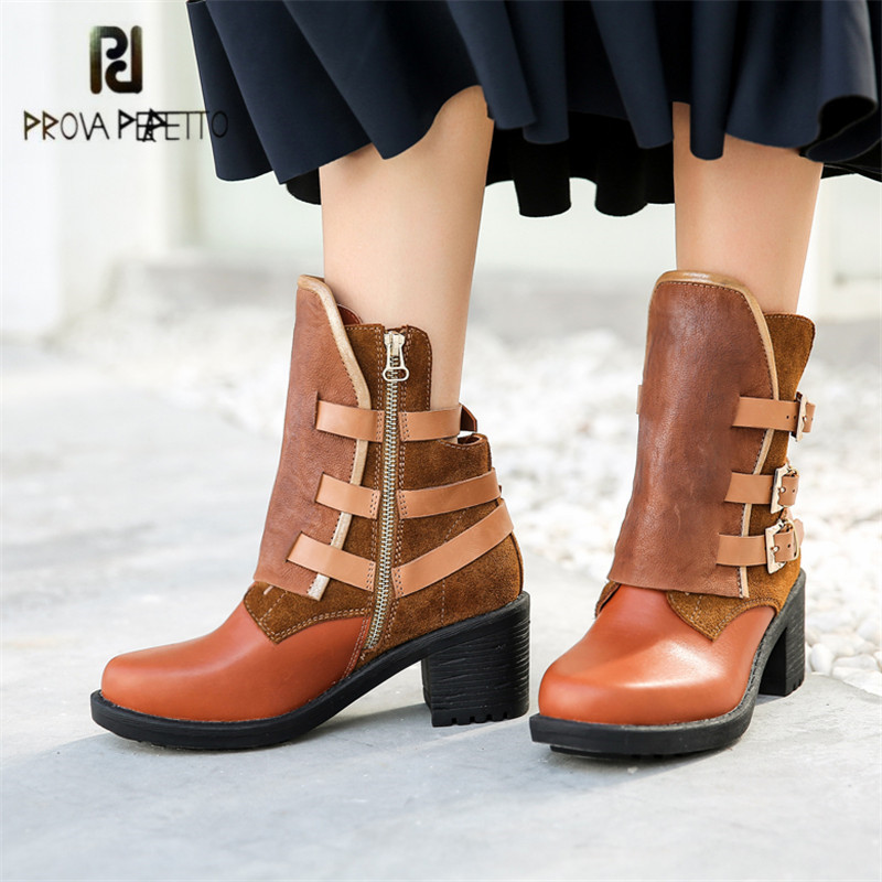 Prova Perfetto 2018 Autumn Winter Women Short Boots Buckles Chunky High Heel Bota Feminina Ladies Ankle Booties Rubber Shoes цена 2017
