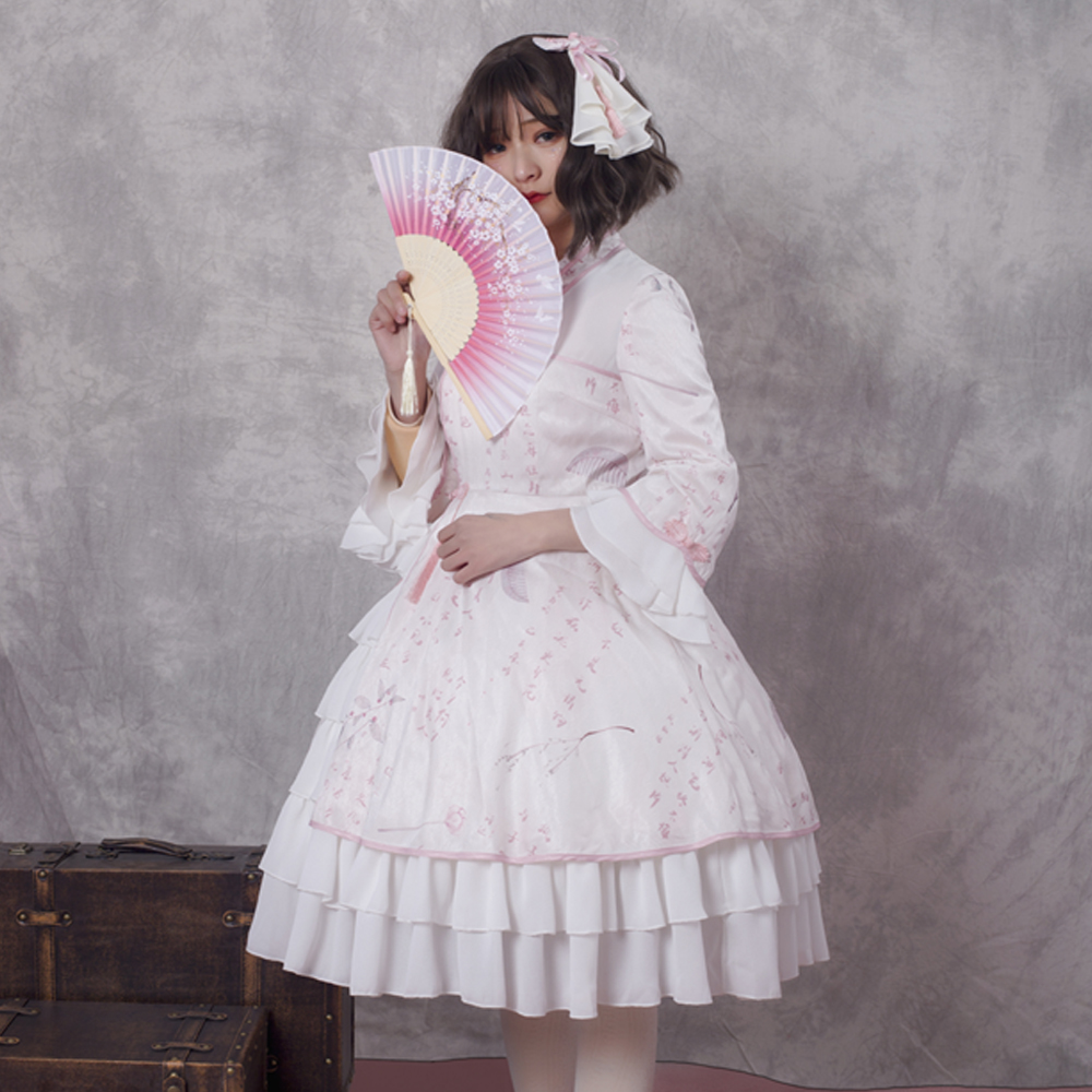 Robe Lolita douce tenue de fête du thé Costumes d'halloween pour femmes demi manches Peter Pan rose JSK Style chinois Loli grande taille