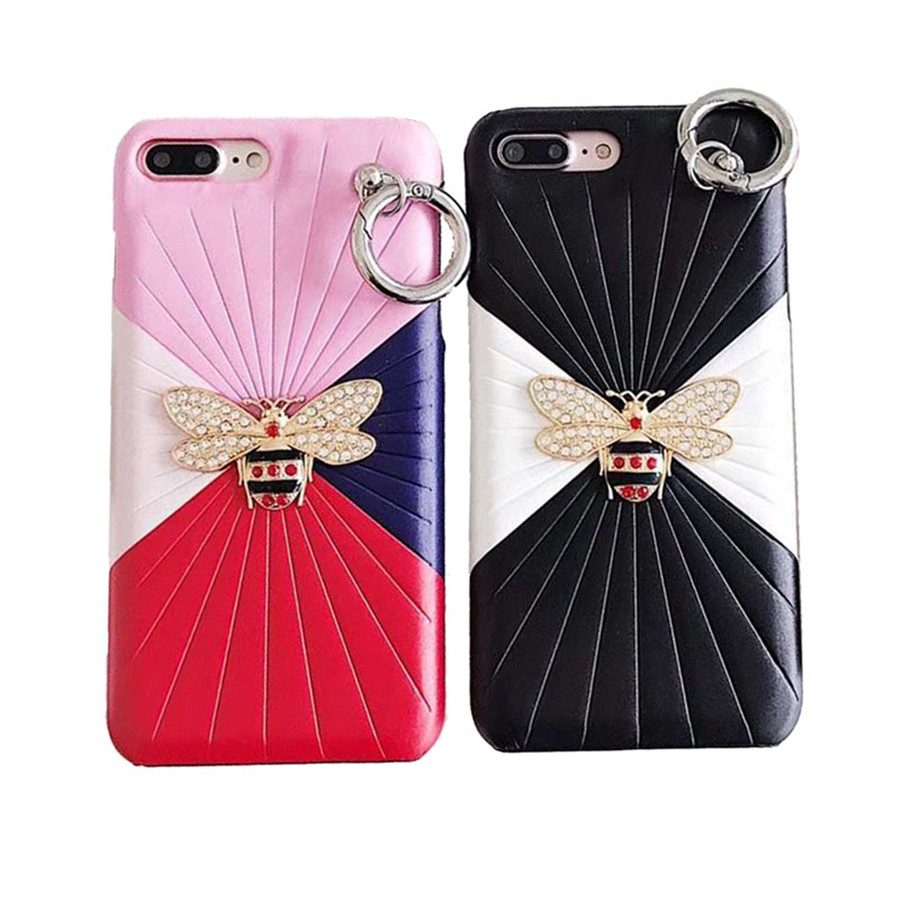 Luxury Leather 3D Metal Bee Pearl Phone Cases For iphone 7 PU Material Fashion Fundas For iPhone X 6 6S Plus 7P Back Cover Coque