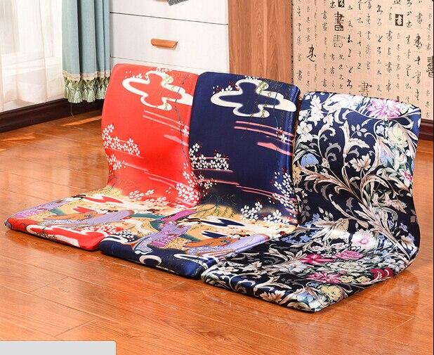 (2pcs/lot) Japanese Living Room Chair Traditional Furniture Peony Tatami Floor Legless Zaisu Backrest Meditation Chair Designer