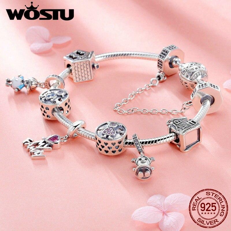 WOSTU 100% 925 argent Sterling j'aime ma famille douce maison bracelet à breloques bracelet pour femmes mignon fille belle bijoux cadeau FIB810