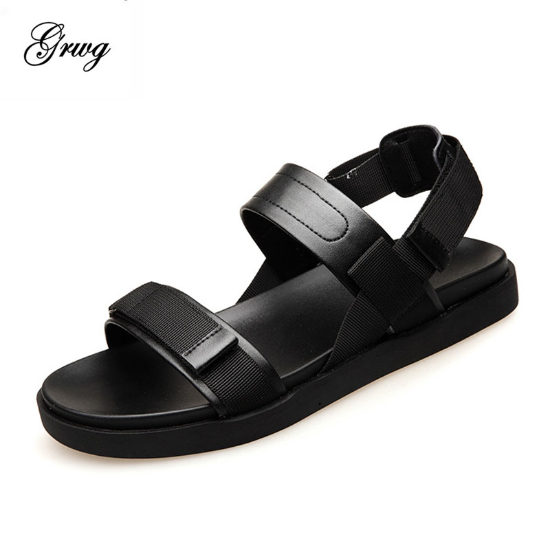 GRWG 2018 New Summer Leather Men Sandals Luxury Brand High Quality Genuine Leather Sandals Men Fashion Men Leather Sandals