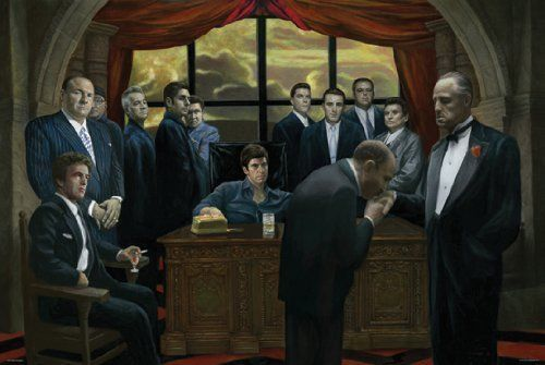 MAFIA GANGSTERS MOVIE Silk Poster Wall Decor Room Painting 24X36INCH image
