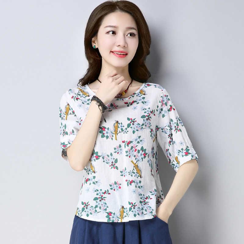2019 ファッション半袖夏の女性はコットンリネンの女性の tシャツを印刷プラスサイズの女性服 Blusas D771 30