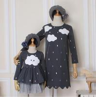 New Autumn And Winter Mother And Daughter Dress Original Design White Clouds Drizzle Dress Family Matching