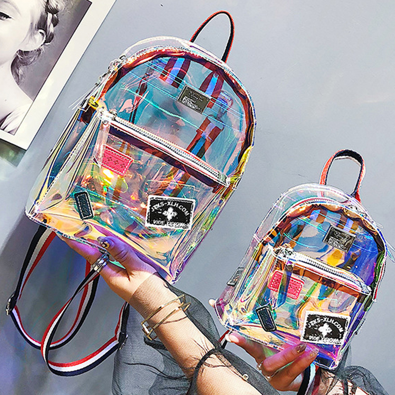 Ita Bag Travel Backpack Fashion Clear Transparent See Through School Book Bag PVC Mini Backpack Laser Jelly Transparent Backpack