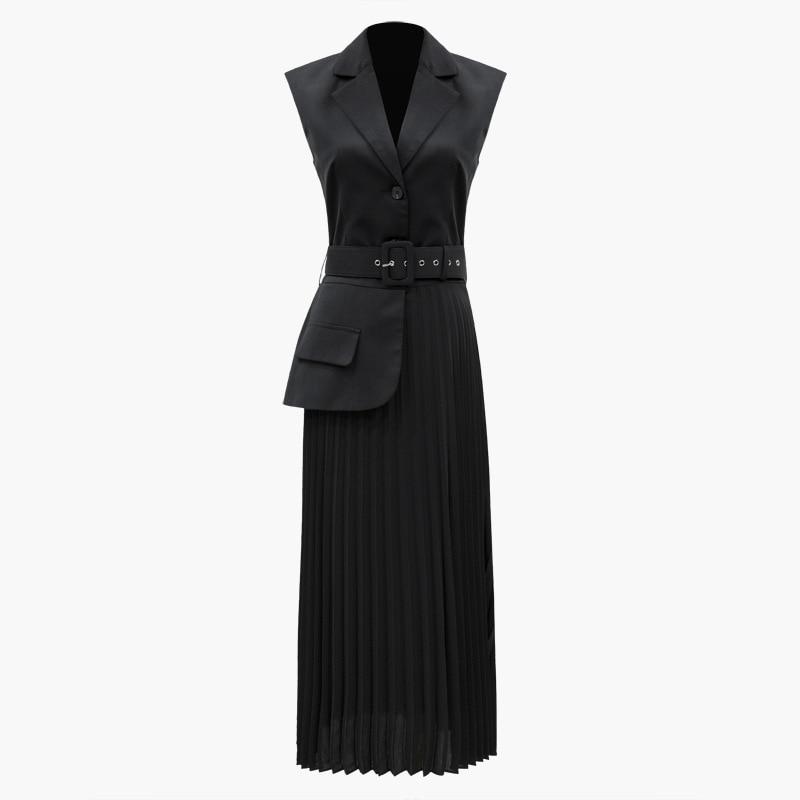 TVVOVVIN 2019 New Spring Real Image Women's Jacket Europe Tail Suit Vest Split Joint Plissee Bottoms Patchwork Long Jacket C057