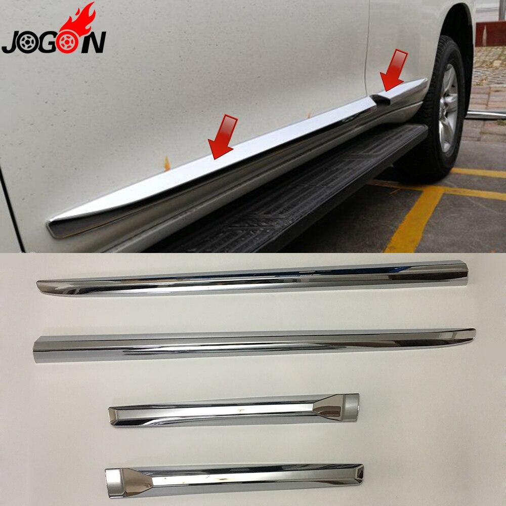 For Toyota Prado FJ150 LC150 2018 Car Styling ABS Chrome Door Body Side Trim Cover Molding Glossy Silver 4pcs/set