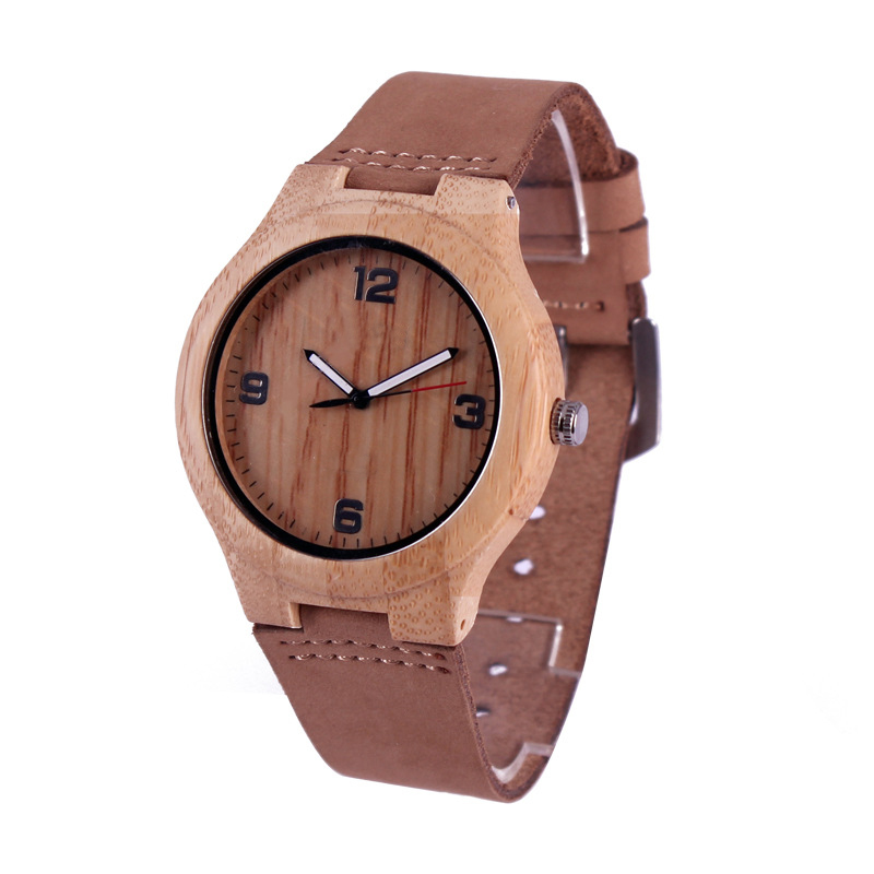 New Sport Bamboo Dial Watches Men Quartz Roman Numbers Leather Band Strap Wrist Watch Cool Women Wood Brown Clock