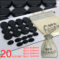 Best selling! 20pcs/set Hot stone massage body massage stone set Salon SPA with bag CE and ROHS