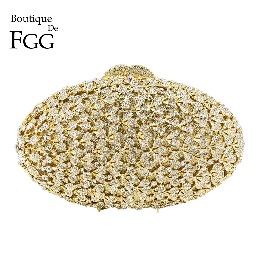 Boutique De FGG Hollow Out Flower Crystal Evening Purse Women Fashion Minaudiere Handbag Wedding Party Diamond Floral Clutch Bag gold plating floral flower hollow out dazzling crystal women bag luxury brand clutches diamonds wedding evening clutch purse