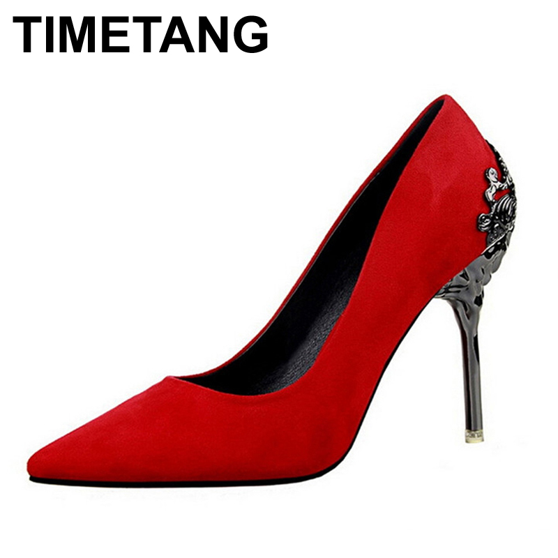 TIMETANG Fashion sexy women pumps carved metal scarpe donna thin high-heeled women suede shallow mouth pointed wedding shoes new spring summer elegant pumps fashion sexy slim thin metal heel shallow mouth pointed sweet bow suede high heeled shoes g395 2