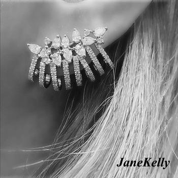 Luxury Trendy brand new AAA cubic zirconia clear stone flower stud ear cuff  earrings for women monochrome