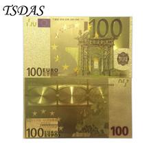 10 sztuk zestaw 100 Euro kolorowe złota folia europejska Euro banknoty pamiątkowe tanie tanio Z tworzywa sztucznego Europa Ludzi TSDAS gold banknote gold foil + pet Souvenir home decoration 7days after you paid 100pcs opp bag