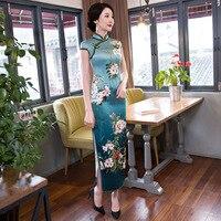 Brand New Blue Chinese Women Satin Long Cheongsam Elegant Sexy Slim Qipao Lady Summer Flower Dress