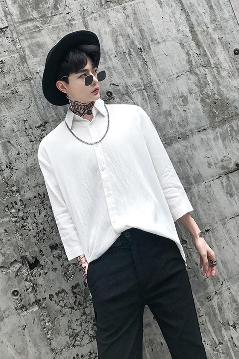 M-6XL!! Summer hair stylist men loose shoulder-shoulder cotton hemp seven-cent sleeve shirt large size medium length shirt