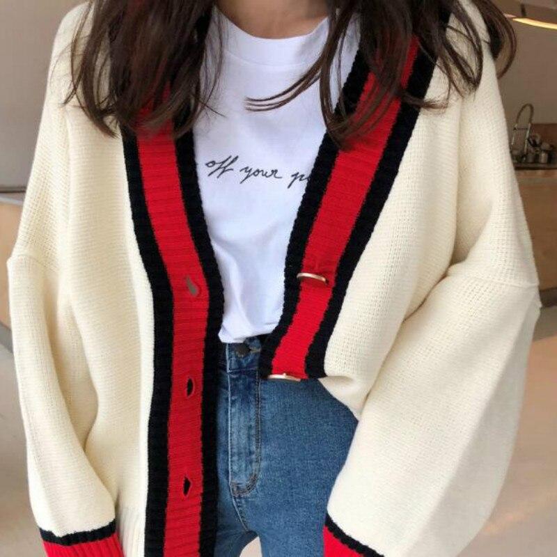 Женский осенний кардиган с v образным вырезом в стиле пэчворк, свитер, пальто, Белый свободный, плюс размер, длинный рукав, Женский трикотажный топ