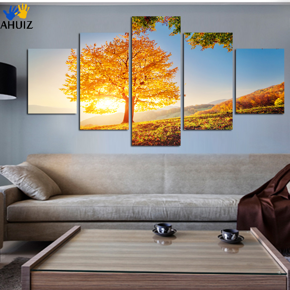 2018 new Unframed 5 pieces Gold Montreal Tree Scenery Painting On the wall Canvas prints Home Decor Wall Painting A124
