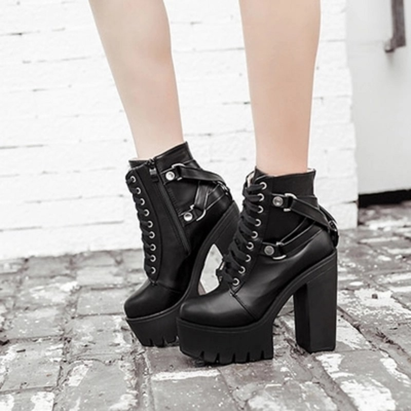 318eb97b2ee Gdgydh Fashion Black Boots Women Heel Spring Autumn Lace-up Soft Leather  Platform Shoes Woman Party Ankle Boots High Heels - aliexpress.com -  imall.com