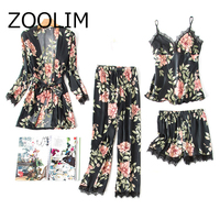 ZOOLIM 4 Pieces Autumn Sexy Women's Silk Pajamas with Pants with Padded Floral Print Satin Sleepwear Female Home Wear
