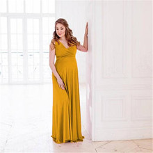 Maternity Dress Photography Props Maxi Dress Elegant Pregnancy Photo Shoot Evening Dress Sleeveless V-Neck Pregnant Clothes