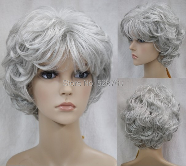 Silver Real Time Quote: Stunning Synthetic Short Silver Grey Curly Wig Real Hair