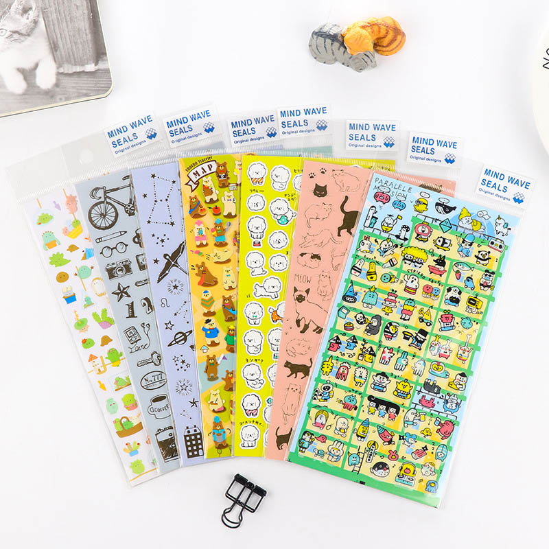 DIY Cute Kawaii Bronzing stickers cartoon cat dog Stickers For Home Decoration scrapbooking Student 3345 цена 2017