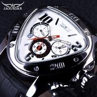 Jaragar Sport Fashion Design Mens Orologi Top Brand di Lusso Orologio Automatico Triangolo 3 Dial Display Cinturino In Vera Pelle Orologio