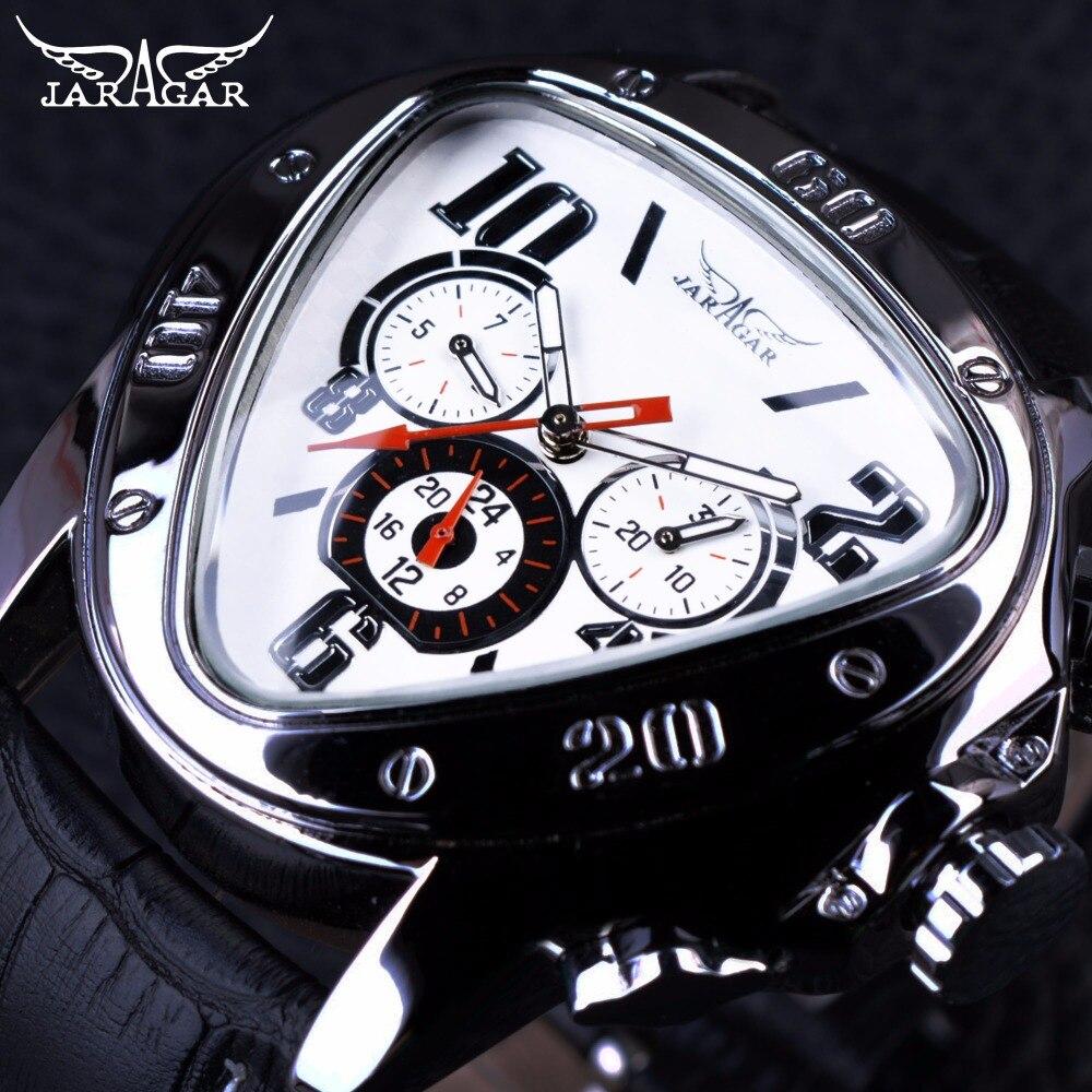 Prix pour Jaragar Sport Design De Mode Hommes Montres Top Marque De Luxe Montre Automatique Triangle 3 Cadran D'affichage Véritable Bracelet En Cuir Horloge