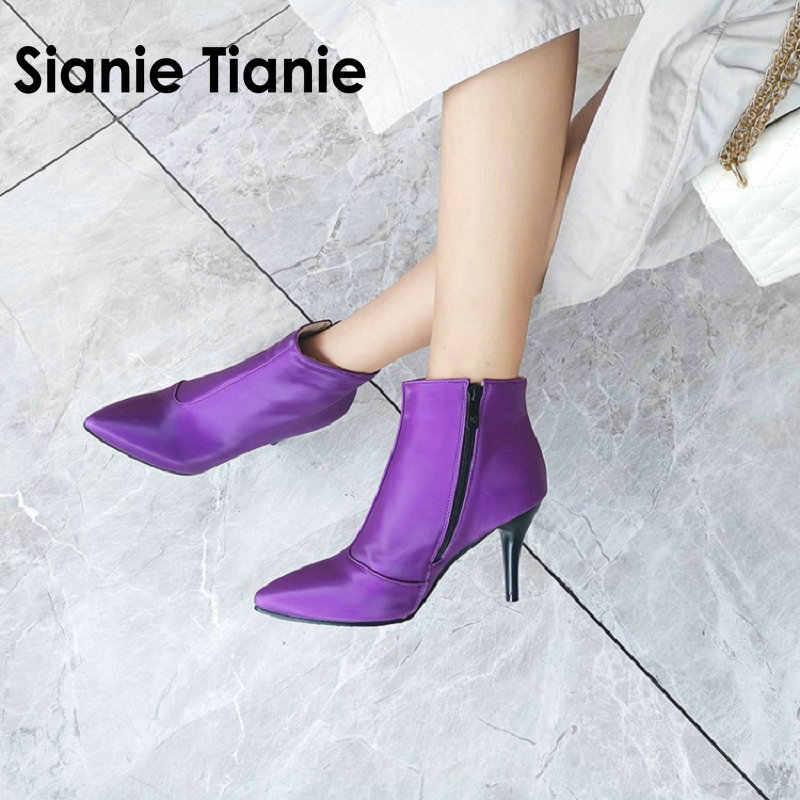 Sianie Tianie 2020 Mới Thu Đông Bóng Mũi Nhọn Người Phụ Nữ Mỏng Giày Cao Gót Tím Dây Kéo Nữ Mắt Cá Chân Giày Plus Kích Thước 46 47 48
