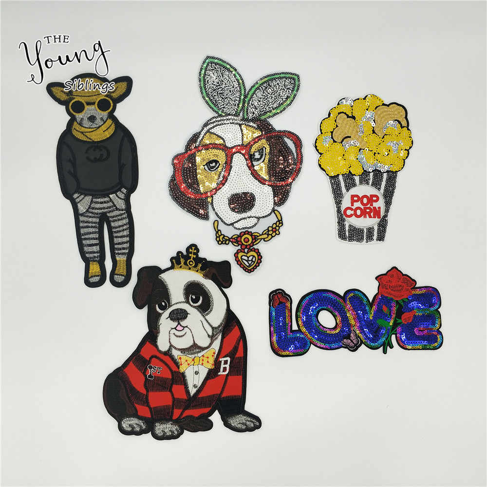 Sequins Cartoon Animal iron on stickers Love Dog Letter patches Decoration Clothing Applique popcorn patch badges DIY Accessory