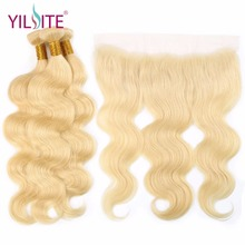 YILITE 613 Bundles With Frontal Peruvian Hair Blonde 3 Closure Remy Straight Human