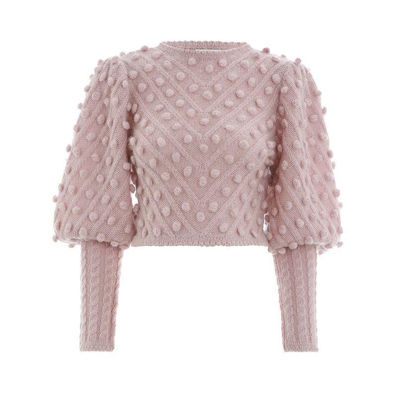 Pas cher prix haute qualité élégant femmes décontracté rose pulls pull Lanter manches tricoté mode pulls courts