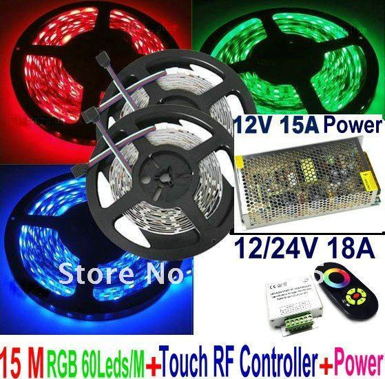 15M RGB SMD 5050 60Leds/M Waterproof IP65 Flexible Led Strip Light 3x5M+Wireless RF Dimmer Control Touch Remote Controller+Power